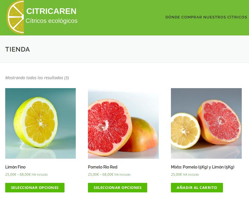Tienda online de Citricaren con las fotografías realizadas.